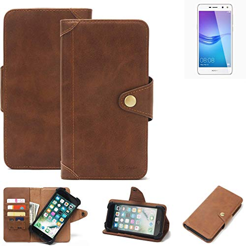 K-S-Trade Handyhülle Huawei Y6 (2017) Single SIM Schutzhülle Walletcase Bookstyle Tasche Handyhülle Schutz Case Handytasche Wallet Flipcase Cover PU Braun (1x)