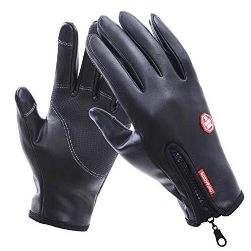 Preisvergleich Produktbild Kcanamgal Winter-Fahrrad-Handschuhe,  Warme Touch-Screen-Leder Texting Fahren Motorrad Fahren Wasserdichte Rutschfeste Handschuhe, XL
