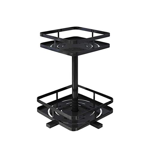 ZH Lazy Susan 2 Tier Metall Spice Rack Plattenspieler 360 ° Free Rotation Seasoning Flaschen Organizer Rack, rostet Nicht,Rutschfeste Füße, Geeignet für Küchentheke, Esstisch, Schwarz -