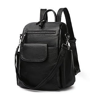 LOSMILE Mujer Bolsos mochila, PU cuero Bolsos bandolera Bolsos de mano Mochila de a diario Backpack Vintage Daypack para viajar, ir de compras, citas, vacaciones (Negro)