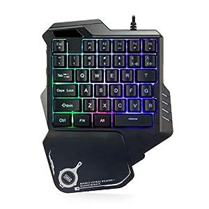 BUGQ Mechanische Einhandtastatur, Mini-Gaming-Tastatur, Tragbare LED-Hintergrundbeleuchtung Mit 35 Tasten, Geeignet Für Gelegentliche Spieloperationen