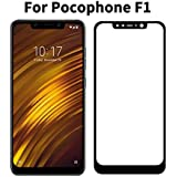 Tingtong Full Glue Xiaomi Pocophone Poco F1 Full Coverage 5D Tempered Glass, Full Edge-to-Edge 5D Screen Protector (Black)