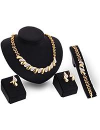 Xuniu Juego de Joyas, Collar con Gargantilla de Diamantes de imitación para Mujer, Oreja, Pendiente, Arete, Anillo, Conjunto