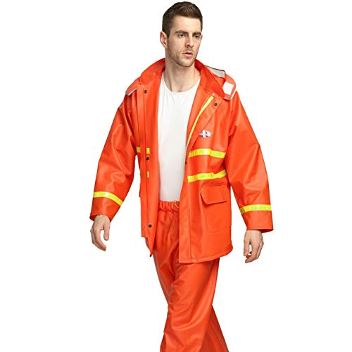 Guyuan Neue Thick Split Sanitation Regenmantel Regen Hosen Anzug Overalls Erwachsene Männer Und Frauen Hohe Reflektierende Regenmantel (Color : Red, Size : XXL)