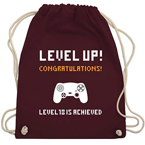 urtstag - Gamer Level 18 - Unisize - Bordeauxrot - WM110 - Turnbeutel & Gym Bag ()