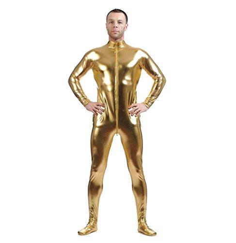 CHENGYANG Metallisch Glänzenden Ganzkörperanzug Anzug Bodysuit Kostüm Spandex Zentai Cosplay Gold 2XL (X Herren Bodysuit)
