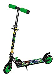 Toyhouse Ben Folding Skate Scooter with Light Up Wheels and Height Adjustable Handlebar(Black&Green)