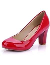 1525d29c7dc7 OL Pumps Büros Chunky Mid Heel Runde-toe Frauen Casual Hochzeit Elegante  Schuhe Aprikose Weiß Rot Schwarz Europa Größe Innerhalb…
