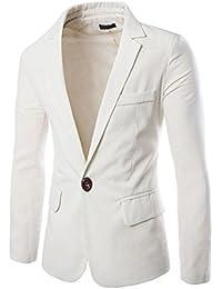 Hombres Manga Larga Chaqueta Blazer Slim Fit 1 Buckle Casual Abrigos Blanco L
