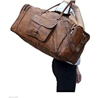 "24"" Men's Genuine Vintage Leather Large Duffle Travel Gym Weekend Overnight Bag"