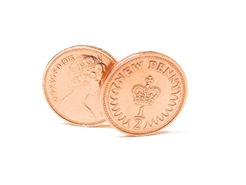 Price comparison product image 40 year Ruby wedding anniversary for a 40th wedding anniversary in 1977 half pence cufflinks