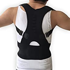 World2home Men and Women Adjustable Posture and Back Brace Support Corset Magnetic Corrector (Black, S)