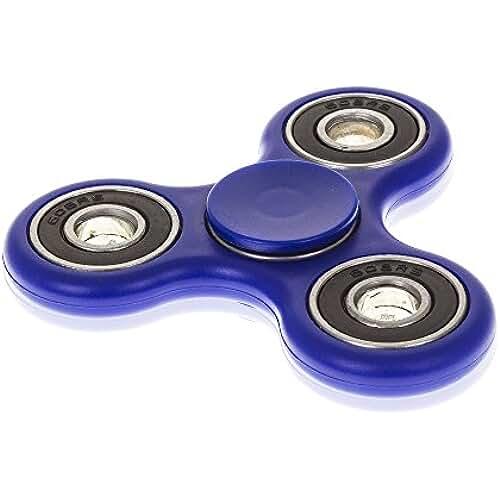 fidget spinner el nuevo juguete de moda DAM Destresspinner Tri Fidget Spinner para adultos o niños- Giro alta velocidad 32.000 rpm- Larga Duración aprox 2 min- Juego sensorial (DARK BLUE)