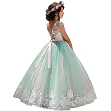 8692c1f4b6d66 NNJXD Robe brodée de Bal en Tulle de Princesse pour Partie Formelle Longue  Queue Robes