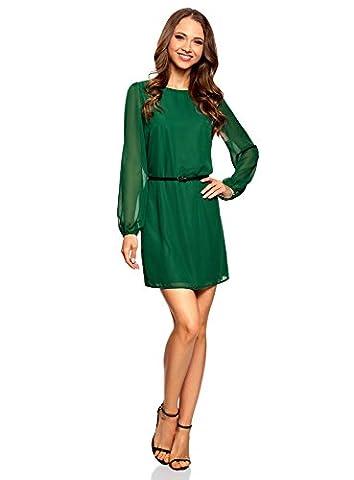 oodji Ultra Women's Belted Chiffon Dress, Green, UK 10 / EU 40 / M