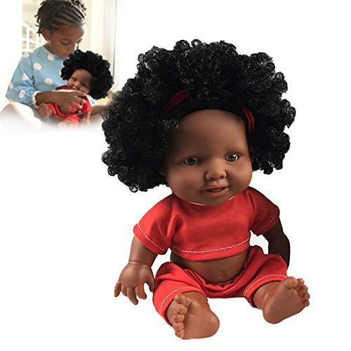 TODAYTOP Nachbildung, lebensechte schwarze afrikanische Baby-Puppe aus weichem Vinyl-Silikon, Ganzkörper-Puppe für Kleinkinder, Jungen, Mädchen, Geburtstagsgeschenk, D (Für Kleinkind Jungen Baby-puppe)