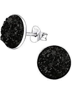 Laimons Damen-Ohrstecker Platte mit Glitzer Design schwarz Sterling Silber 925