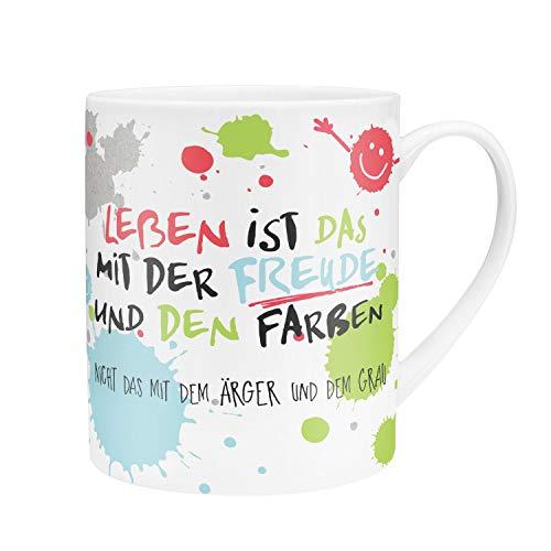 Die Geschenkewelt 45358 XL-Tasse, Das Leben ist das mit der Freude, Porzellan, 60 cl, mit Geschenk-Verpackung - Kissen Mikrowellengeeignet