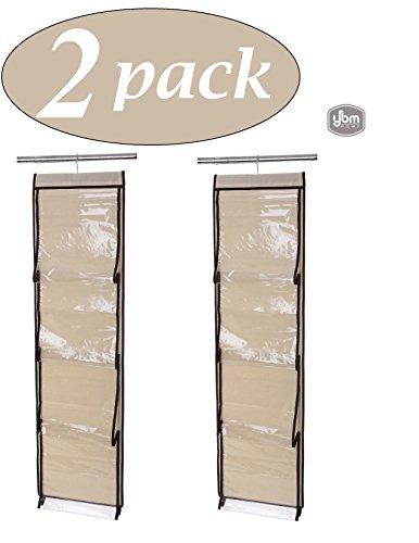 YBM HOME ybmhome Aufhängen Closet 8Pocket Handtasche Halter Rack Organizer Geldbörse Aufbewahrungs, Natur/Braun Rand mit Klar Taschen 2208 Beige (48 Zoll-wand-kleiderbügel)