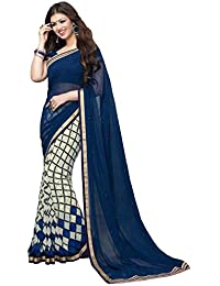 Macube Women's Georgette Printed Saree With Blouse Piece - MS03_P_Blue And Beige_Free Size
