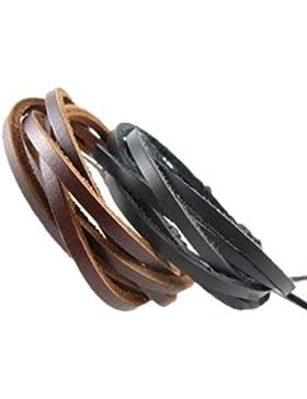 Jirong 2er-Pack Leder Black & Brown Armbänder - Fashion Einstellbare Leder-Armband Armband - Ideal für Männer,...