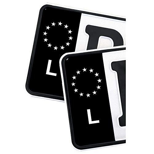 2 x Kennzeichen EU Feld Nummernschild Aufkleber Folie KFZ Schwarz (R059 Luxemburg)