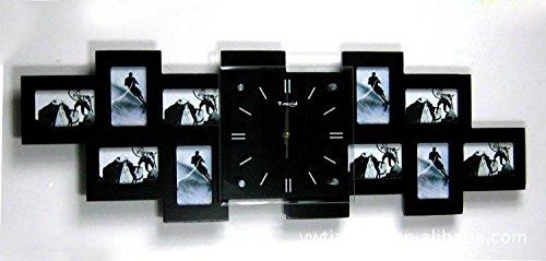 DHGY-Salon moderne maison décorée en bois chambre muette idées photo cadre horloge quartz horloge murale (sans batterie) 80 * 28 * 4,8 CM,NoirCadeau de cadeau de Noël de vacances d'ami cadeau