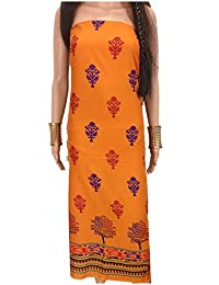 Kurti Material Blouse Fabric Pure Cotton colour fast mud orange, floral print, sambalpuri panel