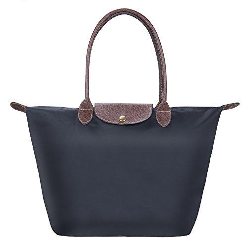 Nylon Damen Shopping Shopper Tasche, Diealles Frauen Stilvolle Wasserdichtes Nylon Schultertasche Einkaufstasche,Perfekt zum Shoppen, fürs Büro Oder für den Urlaub - Schwarz