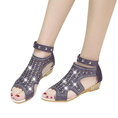 Sandalen Damen, Sannysis Frühling Sommer Damen Frauen Keil Sandalen Mode Fisch Mund Hohl Roma Schuhe (Schwarz, EU:38) (Schnalle Sandalen Detail)