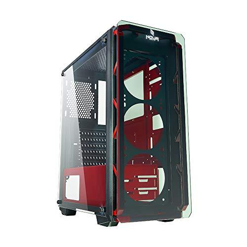 Noua Cool G67 Rojo Caja ATX para PC Gaming Frontal Tempered Glass...