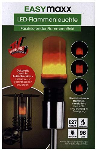 (EASYmaxx 04492 LED-Glühlampe | Energiespar-Glühbirne mit realistischem Flammen-Effekt | Fassung E27)