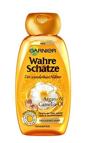 Garnier Wahre Schätze Shampoo, Intensive Haarpflege bis in die Spitzen, Mehr Glanz und Geschmeidigkeit (mit Argan-Öl & Camelia-Öl - für trockenes Haar - ohne Parabene) 1 x 250 ml