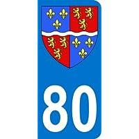 Autocollant 80 avec blason département de la Somme plaque immatriculation Auto (9,8 x 4,5 cm)