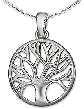 CLEVER SCHMUCK-SET Silberner Mini Anhänger kleiner Lebensbaum Ø 14 mm glänzend schlicht teils offen und Kette...
