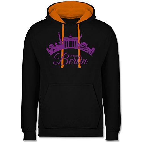 Skyline - Skyline Berlin Deutschland Germany - Kontrast Hoodie Schwarz/Orange