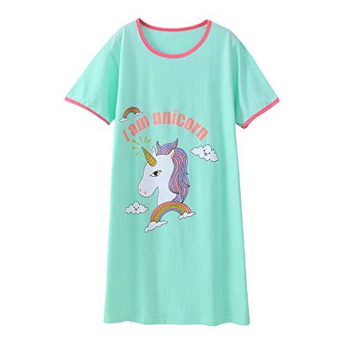 0d68d355ee AOSKERA Mädchen Einhorn Nachthemd Baumwolle Nachtwäsche Kurzarm Nachthemden  11-12 Jahre