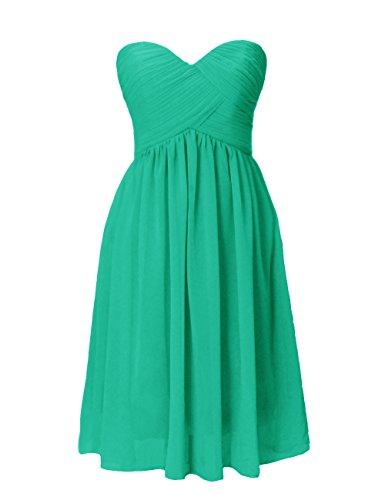 Dresstells, A-ligne longueur genou robe de demoiselle d'honneur en mousseline de soie sans bretelles, lacets au dos Vert