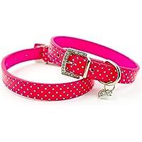 """Pet Palace® """"Perro de lunares con hebilla de diamante collar de piel sintética y diseño de diamante colgante de corazón"""