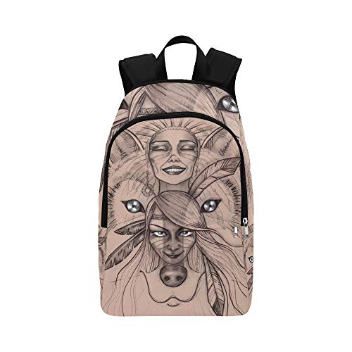 f7e20591553e5 American Girl with Wolf Headdress Casual Daypack Travel Bag College School  Backpack for Mens and Women