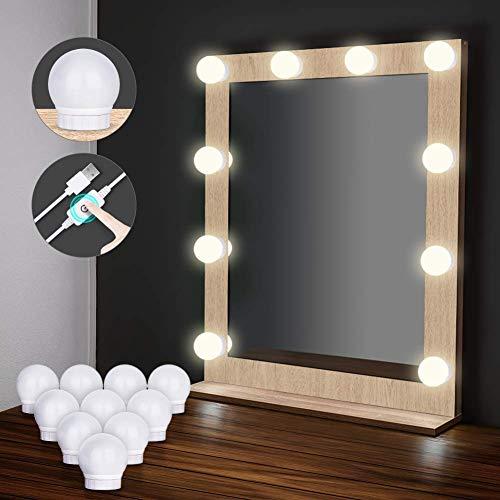 LED Spiegelleuchte, Auledio Schminktisch Beleuchtung USB 10 dimmbare Spiegellampe 4000K Weiß Schminklicht Hollywood-Stil Kit IP65 wasserdicht Spiegellicht für Kosmetikspiegel, Badezimmer, Dekoration