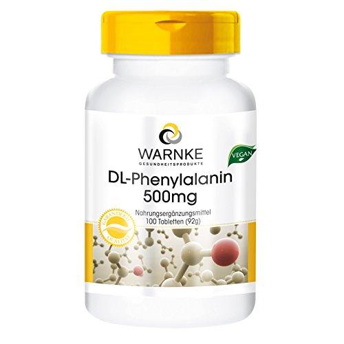Warnke Gesundheitsprodukte DL-Phenylalanin 500mg - 100 vegane Tabletten