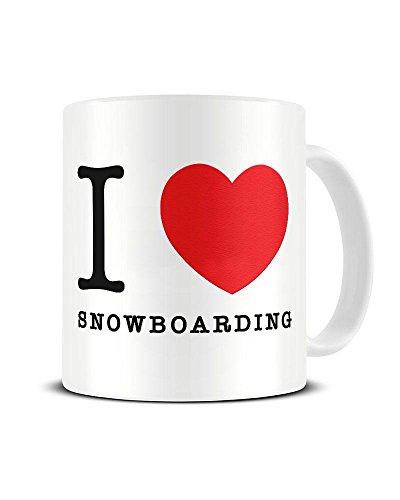 Funky NE Ltd Keramik-Kaffeebecher mit Aufschrift I Love Snowboarding - Herz - Wintersport - tolle Geschenkidee Torah Bright Snowboard