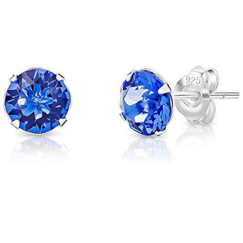 DTPsilver - Boucles d'oreilles avec Fermoir clou pour Femme en Argent Fin 925 avec Cristaux de Swarovski Elements de 6 mm de forme Ronde - Couleur: Saphir Bleu