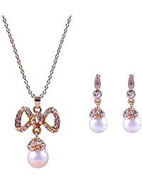 3735bc5e4274 Gysad Collares mujer Decoración perla imitación Pendientes mujer Regalos  originales para mujer Hermosa y elegante Collares