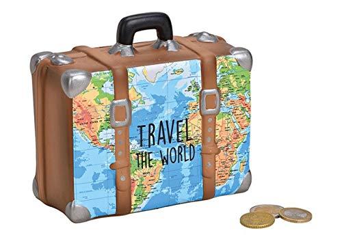 Topshop24you wunderschöne Sparbüchse,Sparschwein,Urlaubskasse,Reisekasse,Spardose,Reisekoffer braun mit Pfropfen