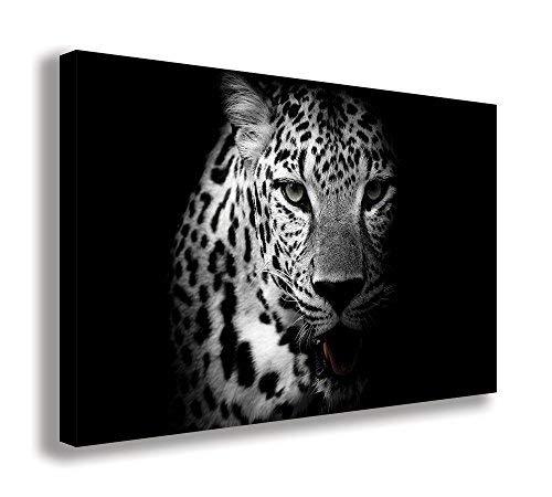 Umwerfende Leopard Wild Animal schwarz und weiß Leinwand Art Wand (111,8x 66cm/110x 65cm) -