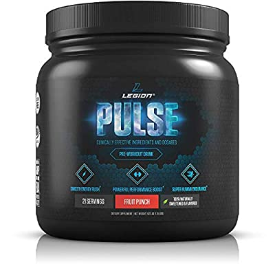 Legion Athletics Pulse Pre Workout Supplement - Best Nitric Oxide Preworkout Drink For Men And Women to Boost Energy & Endurance. Creatine Free, All Natural, Safe & Healthy, 21 Servings by Legion Athletics