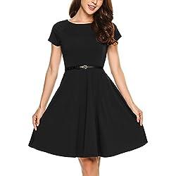 Zeagoo Damen Kleid Sommerkleid Cocktailkleid Abendkleid Partykleid Elegant Kleid Kurzarm A Linie mit Gürtel Schwarz XXL