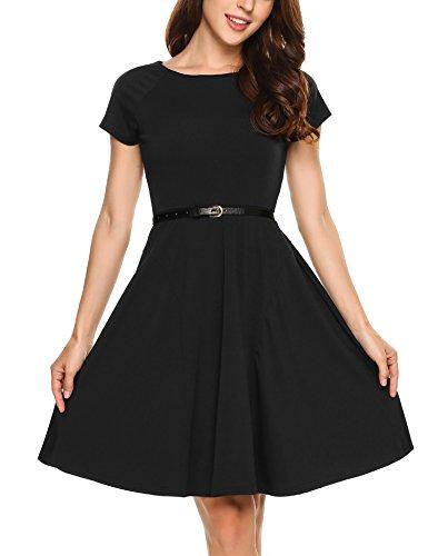 Zeagoo Damen Kleid Sommerkleid Cocktailkleid Abendkleid Partykleid Elegant Kleid Kurzarm A Linie mit Gürtel Schwarz